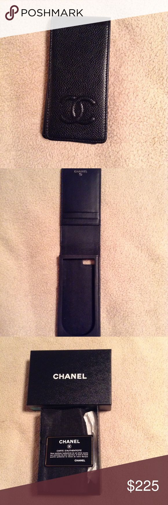 Chanel IPhone 5 Case Black Chanel IPhone 5 Case In Caviar Leather With Interlocking CC's At Front And Flap With 3 Interior Card Slits. Includes Box. In very Good Condition Faint Discoloration At Interior CHANEL Accessories Phone Cases
