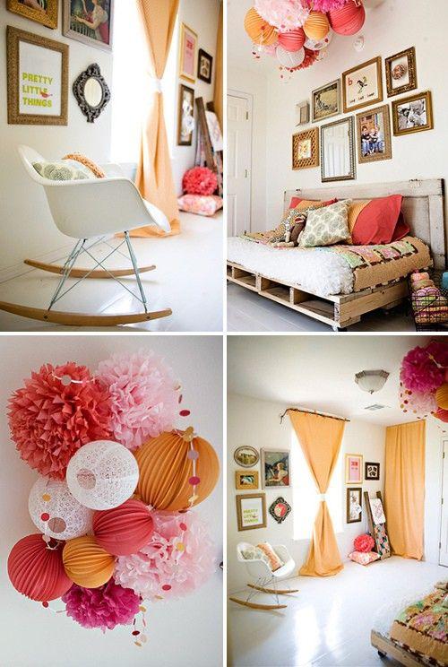 I love pompoms: Rocks Chairs, Decor Ideas, Paper Lanterns, Nurseries, Colors, Pallets Beds, Pom Pom, Girls Rooms, Kids Rooms