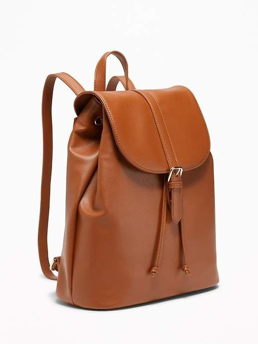 d721890b5cfd Faux-Leather Cinched-Top Backpack for Women  shopping  fashion  style   deals  purses