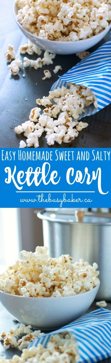 Homemade Sweet and Salty Kettle Corn recipe from thebusybaker.ca for the perfect Valentine's Day night in!