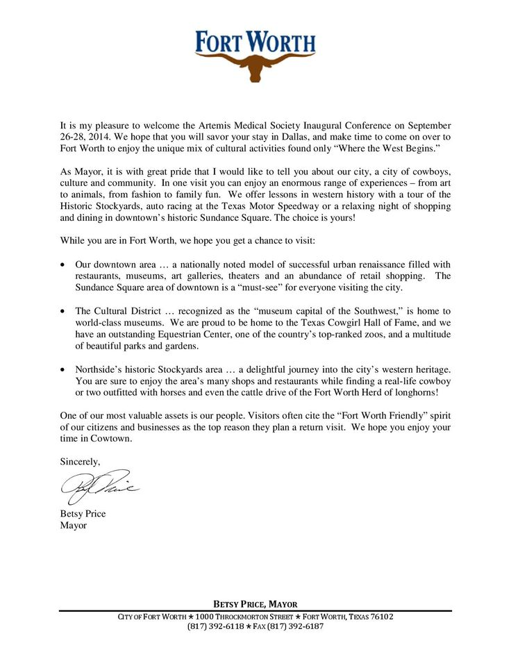 Welcome Letter From Fort Worth Mayor Betsy Price Artemis