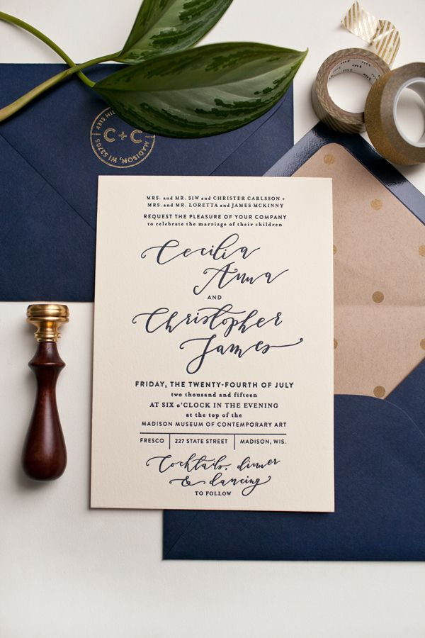 wedding invitation sample by email%0A Navy   Gold Letterpress Wedding Invitation   Hollis Anne