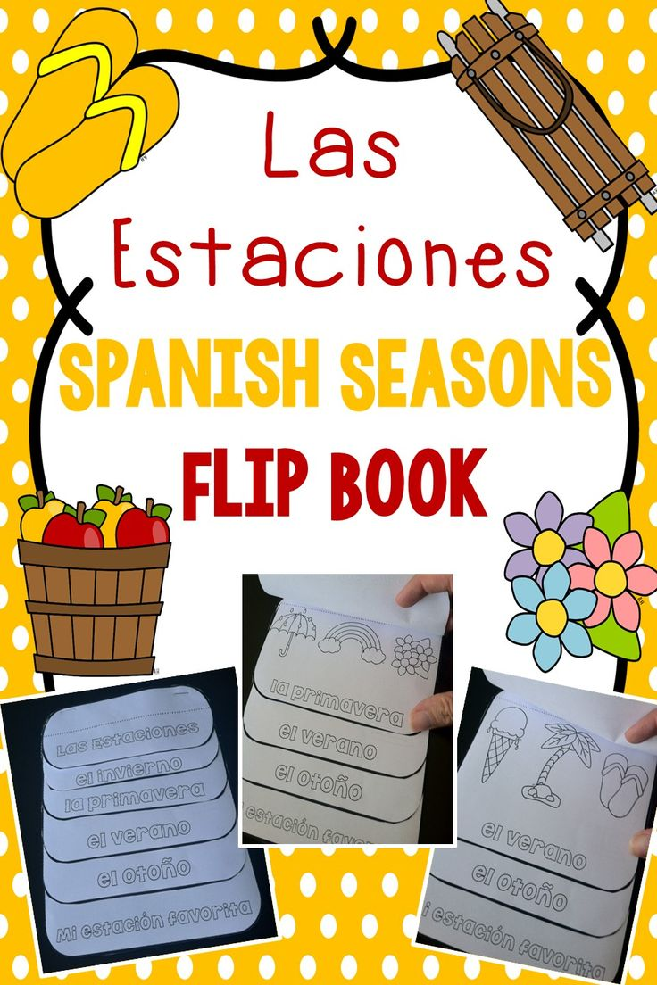"""Spanish seasons flip book. 2 versions: one with pictures and one blank for students to add their own drawings or words associated with the season plus a """"mi estación favorita"""" page."""