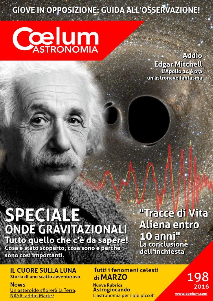 L'immagine del grande Albert #Einstein sovrasta la rappresentazione di un evento cosmico, la fusione di due buchi neri. È proprio questo l'evento connesso al primo rivelamento diretto di onde gravitazionali. In rosso è riportato il tracciato del segnale ottenuto all'osservatorio #LIGO al passaggio delle onde.   Coelum n. 198 di marzo 2016 Un numero storico di ben 152 pagine tutte da leggere e conservare: sfoglialo online e scarica il pdf gratuitamente >  http://goo.gl/1vq3co