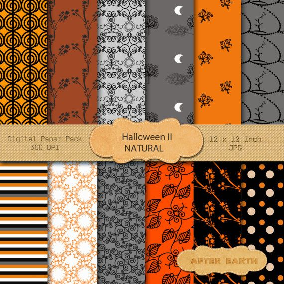 Halloween II Natural digital paper Scrapbooking by AfterEarth