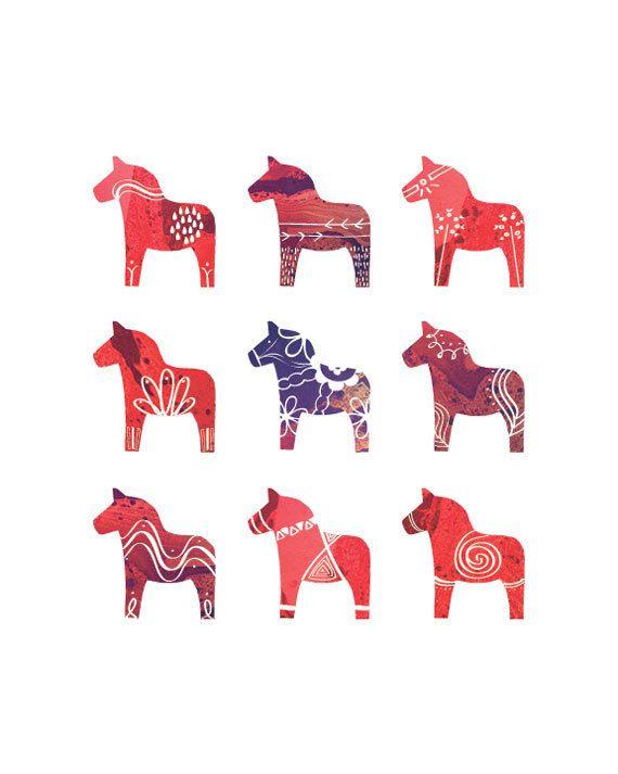 Swedish Dala Horse Print 8 x 10 Scandinavian Print by redstuga