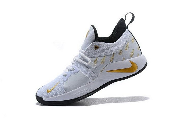 online store 56f67 54469 Nike PG 2 White Gold Black Mens Basketball Shoes