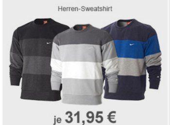 Allyouneed: Nike Herren-Sweatshirt für 31,95 Euro frei Haus https://www.discountfan.de/artikel/klamotten_&_schuhe/allyouneed-nike-herren-sweatshirt-fuer-31-95-euro-frei-haus.php Bei Allyouneed ist jetzt ein Herren-Sweatshirt von Nike für 31,95 Euro frei Haus zu haben – verfügbar ist das Textil in vier Größen und drei Farben. Allyouneed: Nike Herren-Sweatshirt für 31,95 Euro frei Haus (Bild: Allyouneed.com) Das Herren-Sweatshirt von Nike für 31,95 Euro frei Haus