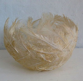 Feather bowl..No diy. I imagine it can be done by gluing the features on a balloon and popping it after it dries.