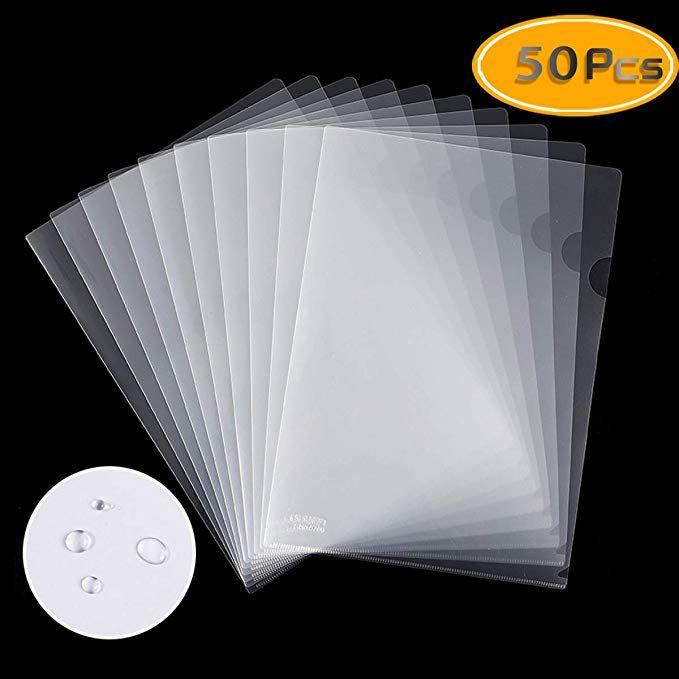 Fyess 50pcs Clear Plastic Document Folders Us Letter A4 Size 14c 1 4mm Thick Clear Transparent Document Folders Cop Document Folder Folders Binder Dividers