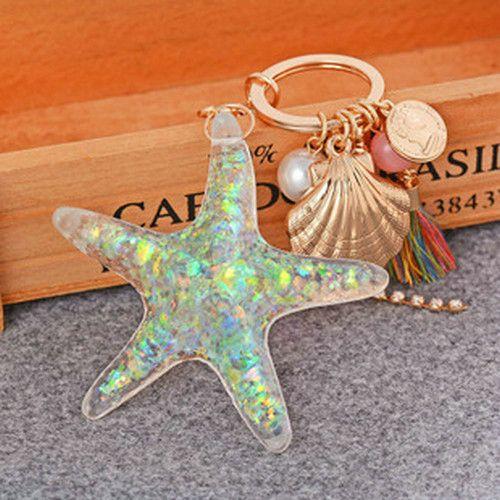 Barato Novidade strass grande resina Animal de mar Starfish pérola chaveiro chaveiro chaveiro bolsa anel encantos da bolsa pingente, Compro Qualidade Chaveiros diretamente de fornecedores da China: