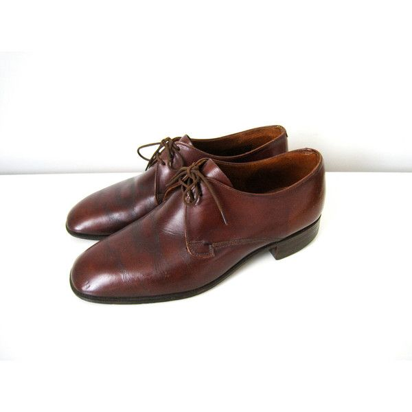 ON SALE Vintage Mens Oxford Shoes in Brown Leather - Leather Brogues... (115 CAD) ❤ liked on Polyvore featuring men's fashion, men's shoes, mens brown brogues, mens leather shoes, mens brown shoes, mens brogue shoes and mens leather brogues