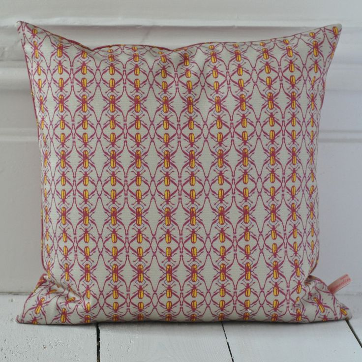 Dancing Beetle Cushion {Available reversible or as a single print}