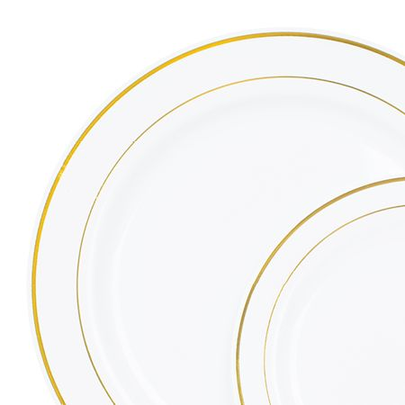 Smarty had a party: 120/case x 2 sizes = $79.99 10280 Gold Rimmed White Plate Value Pack