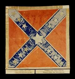 Flag of the 4th Texas Infantry flag flown in the battles of Eltham's Landing, Gaines' Mill, Malvern Hill, Second Manassas (Bull Run), and Sharpsburg (Antietam). The flag was sent back to Texas after the battle of Sharpsburg (September 17, 1862g, the flag was given to the United Daughters of the Confederacy (Texas Division,) by the veterans of the 4th Texas, and is now located at five Texas Civil War Museum located in Fort Worth, TX.