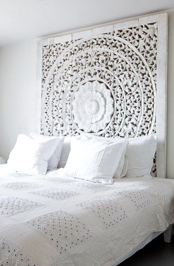 Wooden Moroccan style Headboard | Bedroom Inspiration via Bo Bedre Norway by Monica Norrby