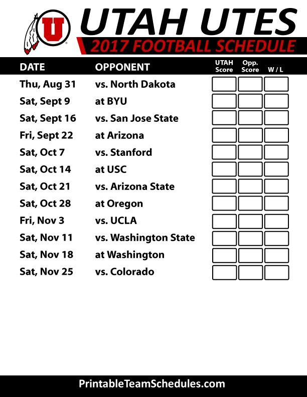 2017 Utah Utes Football Schedule