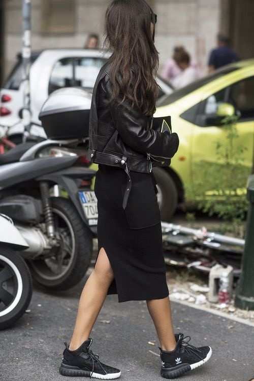 all black is always on-trend...especially with a little leather