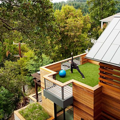 Sustainable Treetop Home Home Yoga Studios Green Roofs