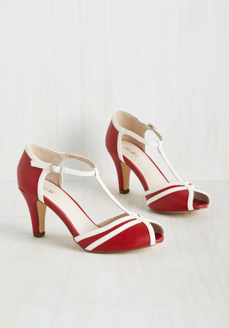 Earn Your Peep Heel in Crimson. With their vintage-inspired vibe and chic detailing, these red heels by Chelsea Crew are designed to win a spot in your coveted footwear collection. #red #modcloth