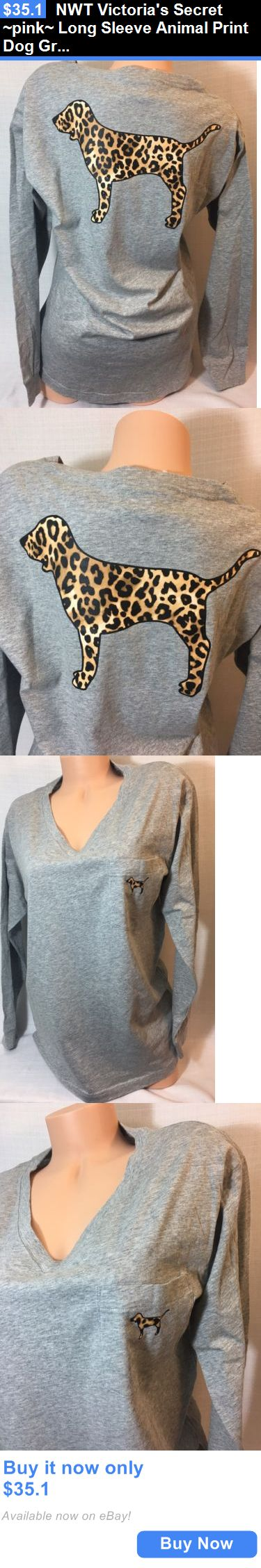 Women T Shirts: Nwt Victorias Secret ~Pink~ Long Sleeve Animal Print Dog Graphic Campus Tee A BUY IT NOW ONLY: $35.1