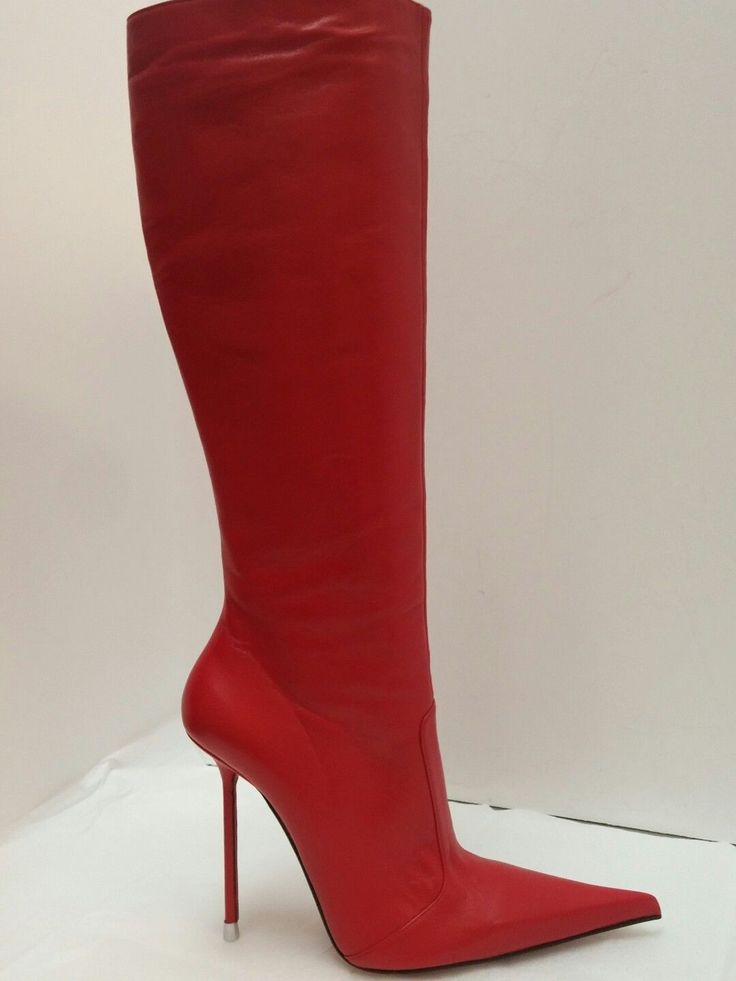 DiMarni stiletto knee boots in red kidskin with 145mm (5.75-inch) ultra-thin stiletto heels and extreme pointed toe