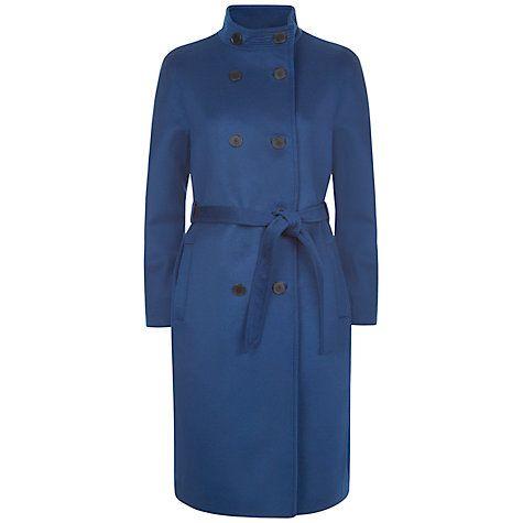 Buy Jaeger Wool Cashmere Funnel Neck Coat, Ocean Blue Online at johnlewis.com
