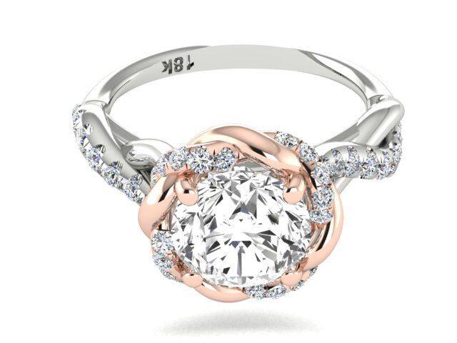 fabulous diamond ring wedding diamond rings braided halo two tone wedding and engagement unique ring rose - Wedding Diamond Rings