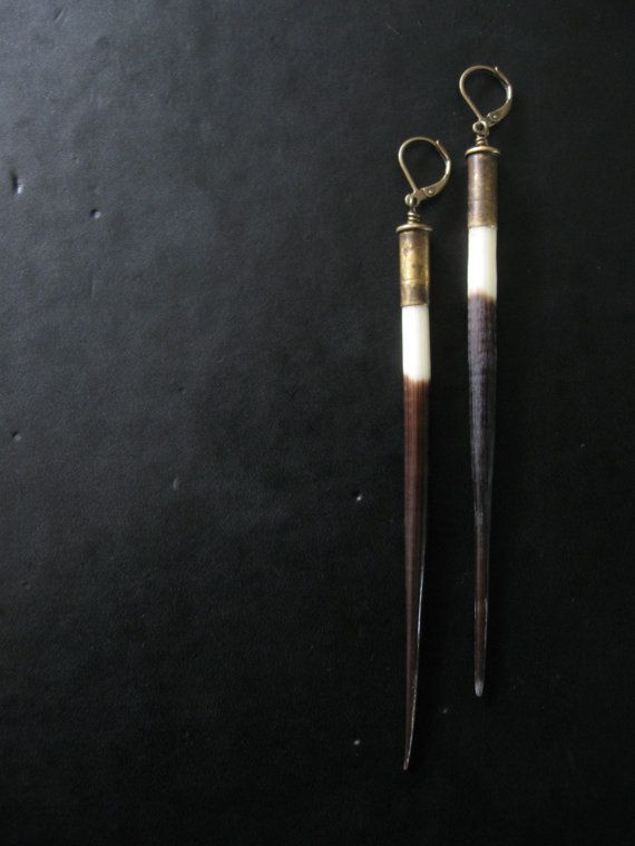 SALE  Porcupine Quill Earrings  Long Dangle by savagesalvage, $26.00