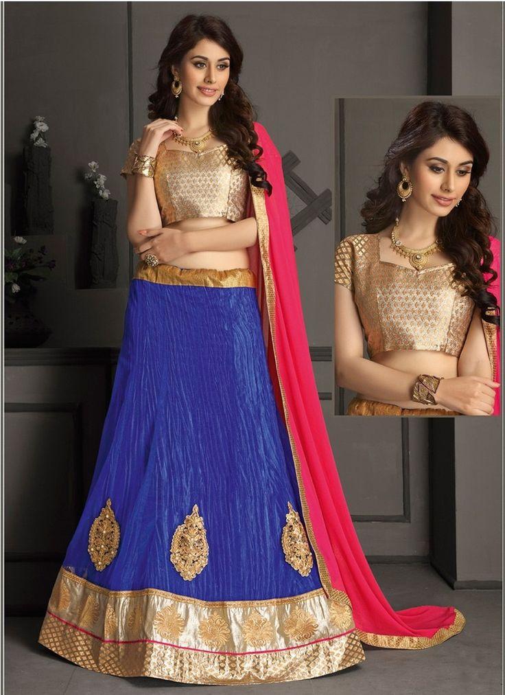 Blue Net Gotta Silk Designer Lehenga Choli #lehengacholi #designerlehengacholi #bridallehengacholi #weddinglehengacholi #onlinelehengashopping
