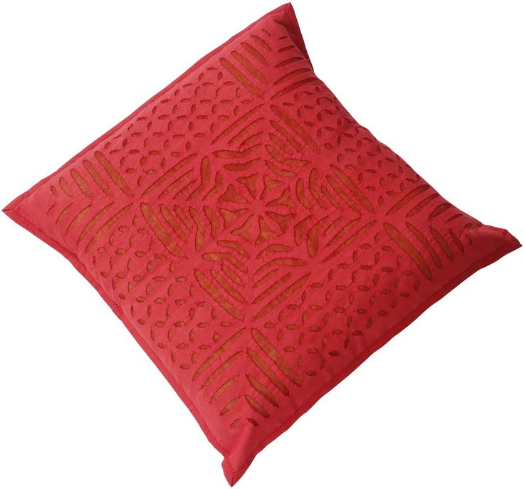 "Bulk Wholesale Red Cushion Cover in Pure Cotton – 16x16"" Hand-Stitched Throw Pillow Cover with Cut Work – Decorative Pillow Case for Couches / Beds / Sofas – Home Décor from India  (Set of 4)"