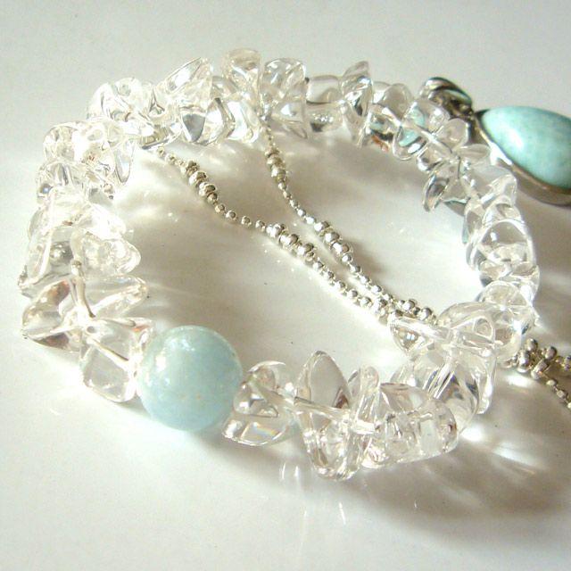 画像1: パワーストーンブレスレットアクアマリン 水晶 結婚運アップ 天然石 3月誕生石 オリジナルデザインブレスレット天然石ブレスレットレディース (1)