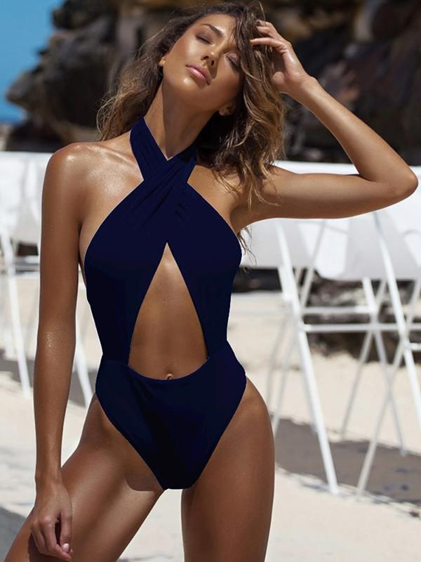 835d88b33a Solid Bandage Halter-neck One-piece Swimwear in 2019