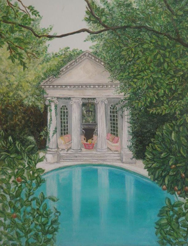 Back yard oasis - acrylic painting by christine beattie