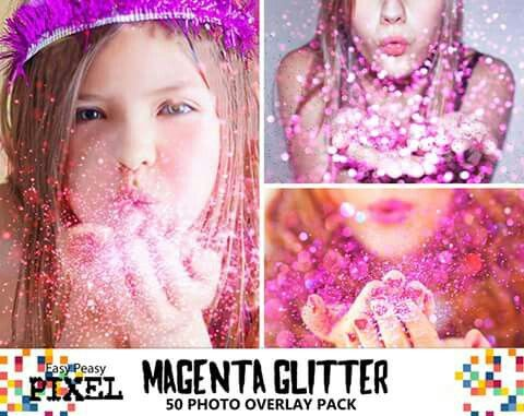 Easy Peasy Feature Pack:  Magenta Glitter Overlays! 50 carefully selected images at different focal depths that you can combine to create realistic Glitter Blowing Effects.   https://www.etsy.com/listing/265159156/blowing-glitter-overlays-photoshop