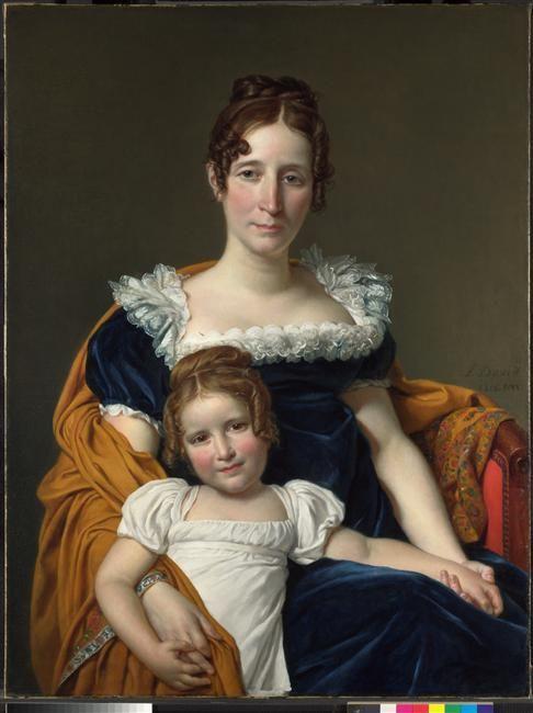 A white dress. Jacques-Louis David, Portrait de la vicomtesse Vilain XIII et sa fille, 1816