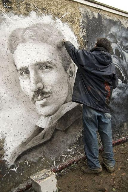 Nikola Tesla painted portrait _DDC3421 by Abode of Chaos, via Flickr