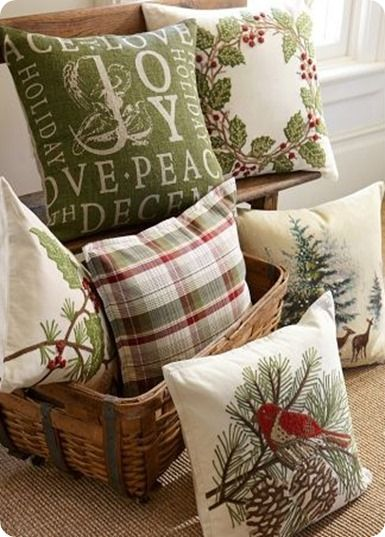 look at these beautiful pillows for christmas pottery barn