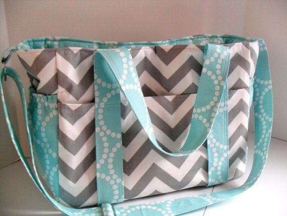 Custom Made Extra Large Diaper bag Made of Chevron Fabric / You Pick Colors. $96.00, via Etsy.