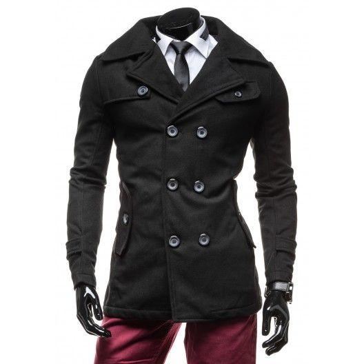 Elegantný čierny pánsky kabát - fashionday.eu
