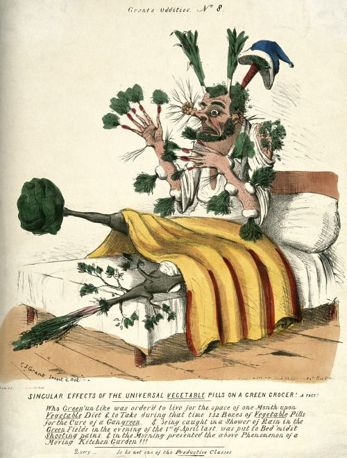 Grendel's Pocket: Coloured lithograph (C. J. Grant, 1831) depicting a man who has overdosed on James Morison's Vegetable Pills. Wellcome Library collections.