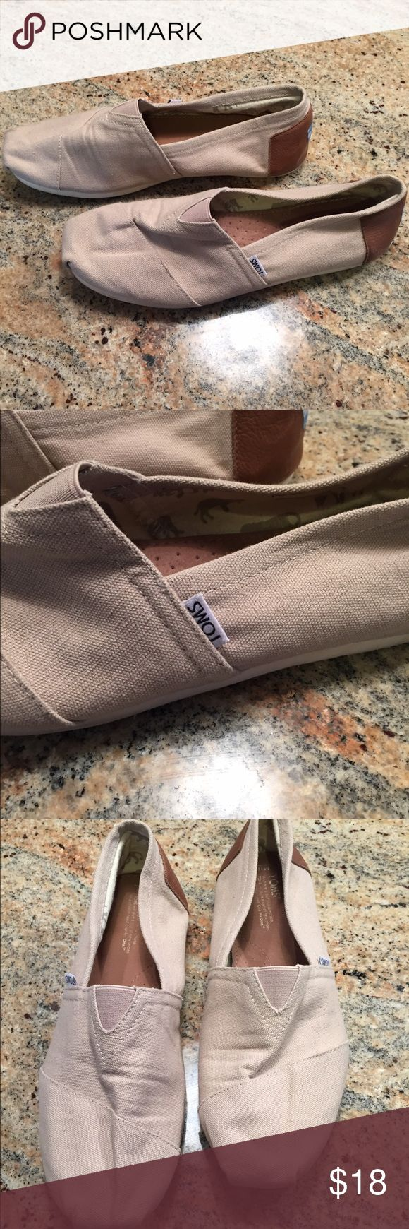 TOMS men's khaki with leather back EUC TOMS men's khaki with leather back EUC worn once or twice open to offers thru offer feature! TOMS Shoes
