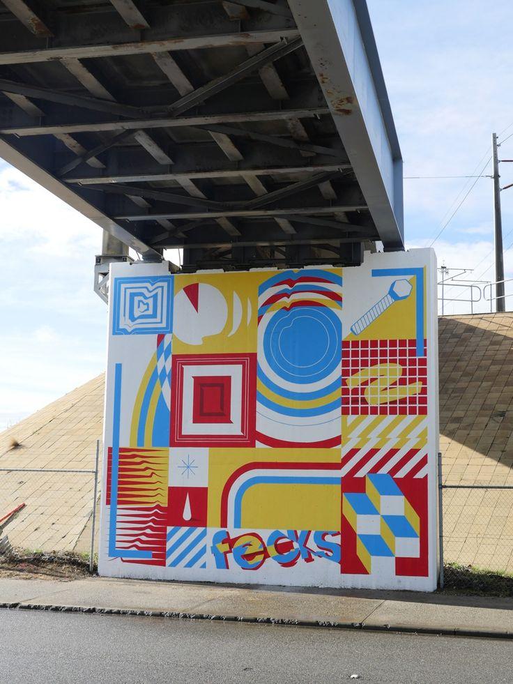 @sherriewilsonprojects  #fecks #mural #streetart #fremantle #freo  http://www.sherriewilsonprojects.com/projects/underline_|_rail_bridge_project/