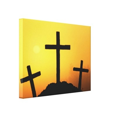 Old wooden cross on Calvary hill at sunset. Wrapped canvas print.: Wooden Crosses, Sunday Crosses, Canvas Prints, Canvas Paintings, Wraps Canvas, Palms Sunday, Canvases Drawings, Painting Canvases Art, Wrapped Canvas