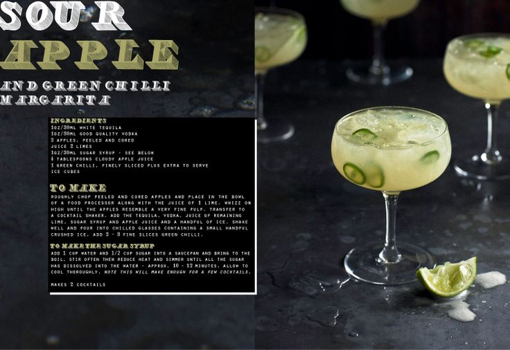 Sour Apple and Green Chili Margarita.: Apples Coctail, Sour Apples, Chilis Margaritas, Apples Margaritas, Green Chile, Green Chilis, Chile Margaritas, Chilli Margaritas, Chilis Magarita