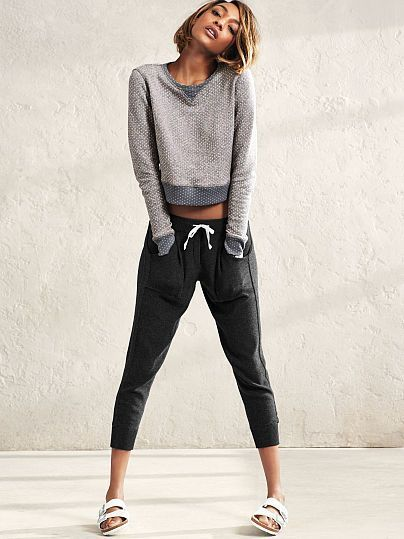 Comfy with an off-duty twist (and a kiss of cashmere). | Victoria's Secret Crop Jogger: