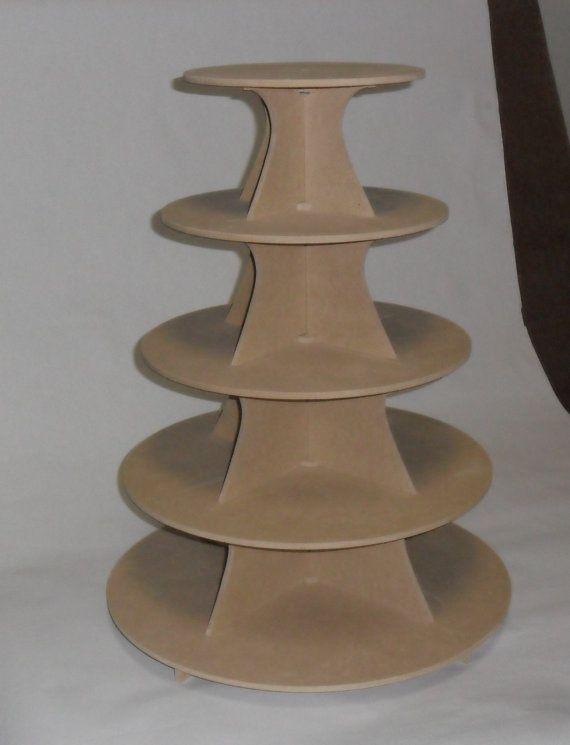 ... Tier Round or Scallop Cupcake Stand Wood mdf / DIY / Wedding / Reus