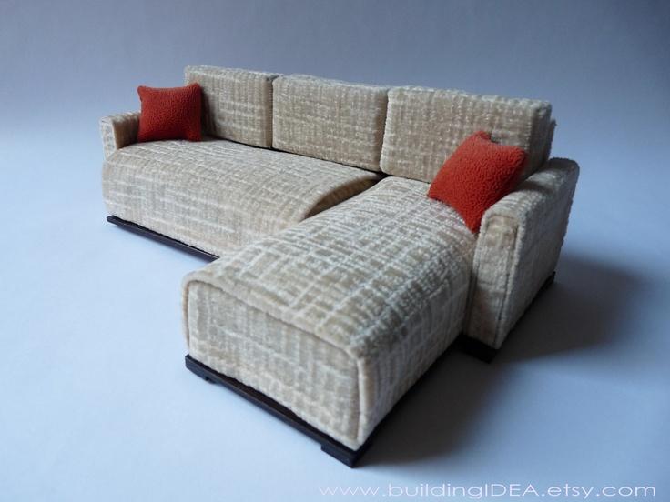 Fancy Doll sectional sofa in scale Blythe Barbie Bratz Momoko