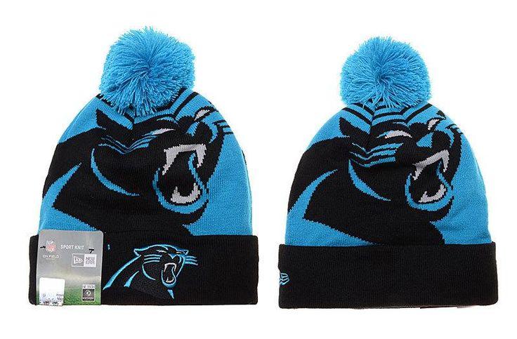 Mens / Womens Carolina Panthers New Era NFL Fashion Sports Logo Whiz Cuffed Knit Pom Beanie Hat - Blue / Black