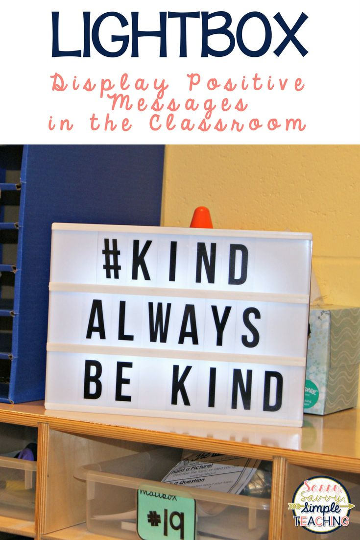Use a Light Box to display positive messages in the classroom! Great way to build classroom community, student shout-outs, announcements and more! Plus students can take charge as a job! Click for more Teacher Ideas!